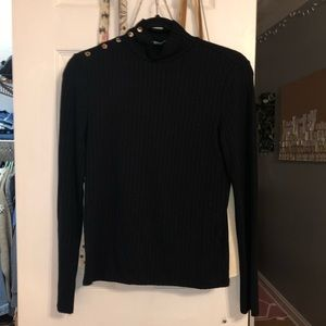 mango black ribbed turtleneck